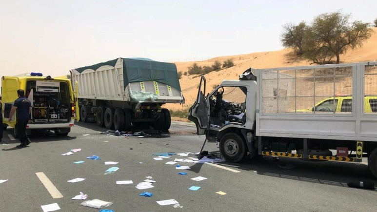truck crash on a road in middle east